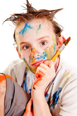 Portrait of a boy with paint on his face