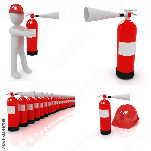 Fire extinguisher set