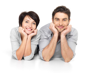 Portrait of happy couple isolated on white