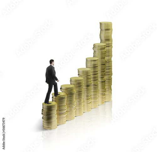 man walking on coins