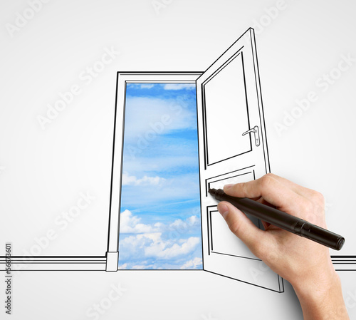 hand drawing door