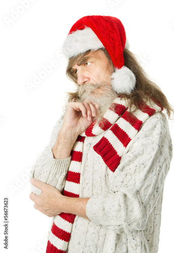 Christmas senior old man with beard in red hat, Santa Claus