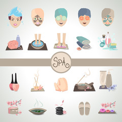 Cosmetics And Spa Icons Set - Vector Illustration