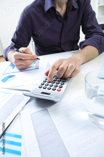 business man analyzing financial data