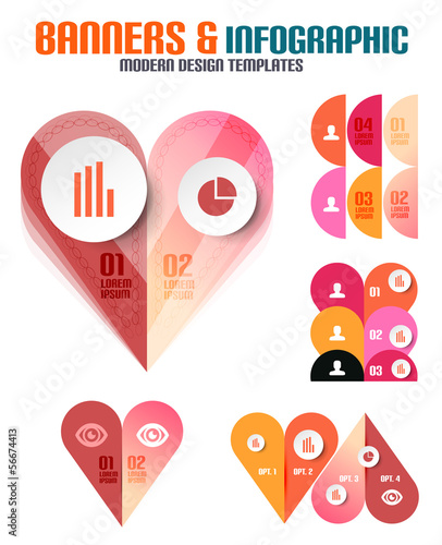 Set of modern geometrical banners and infographics
