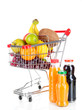 Different fruits in trolley with juice isolated on white