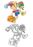 coloring of pinocchio goes to school