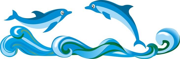 Пара дельфинов над волнами