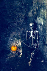 Skeleton With Jack O Lantern