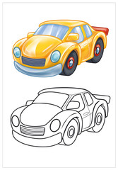 coloring of yellow toy car