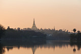 Shwedagon pagoda in Yangon, Myanmar - view from Kandawgyi Lake