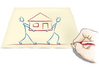 mano disegna una casa