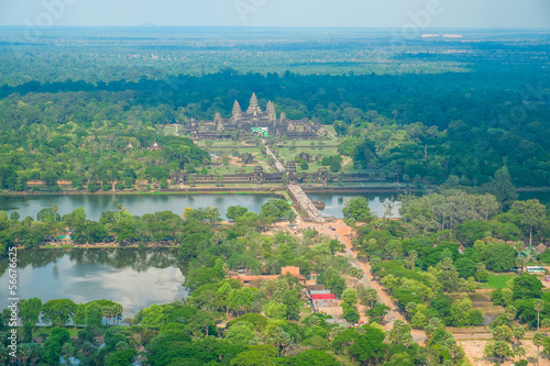 Aerial view of Angkor Wat Temple