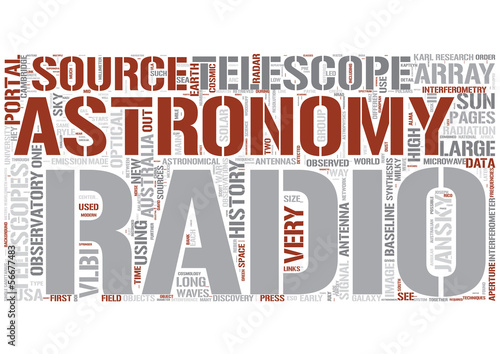 Radio astronomy Word Cloud Concept