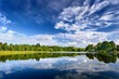 Lake landscape with beautiful reflection of a sky