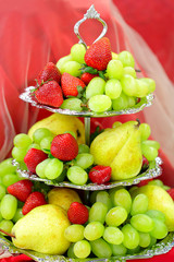Fruits, strawberries, pears, grapes, catering service