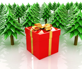 Christmas trees and gift