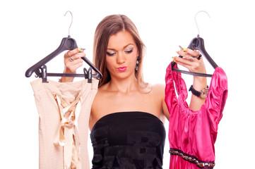 Brunette shopping dresses