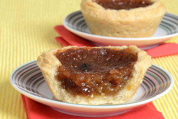 macro of a butter tart