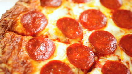Close Up Fresh Baked Thick Crust Pepperoni Pizza