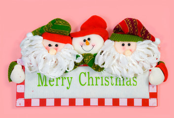 Merry Christmas with Santa Claus pink background