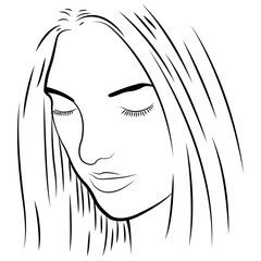 black and white illustration of a pretty girl