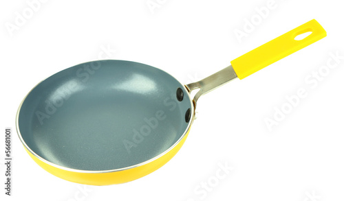 Little yellow pan isolated on white