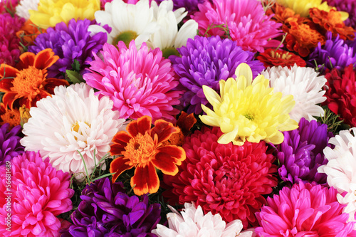 Beautiful bouquet of chrysanthemums close-up