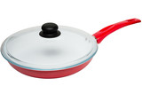 Frying pan with ceramic coating and glass lid
