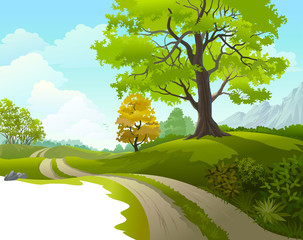 Scenic ride  around beautiful  countryside