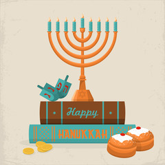 Hanukkah greeting card desig. Vector illustration