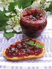 Healthy cranberry sauce or jam in a jar