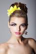 Showy Woman with Vivid Colorful Makeup and False Long Eyelashes