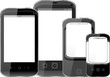 Photo-realistic smart phones with copyspace, isolated