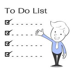 To do list with businessman