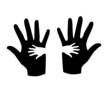 Black and white hands silhouette - vector illustration.