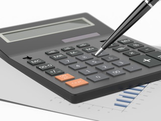 Calculator and pen