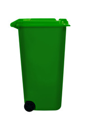 Green wheely aka wheelie bin, isolated over white