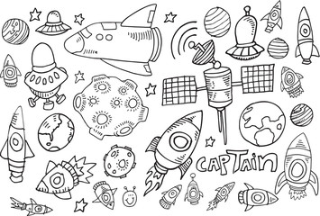 Outer Space Doodle Sketch Vector Illustration Set
