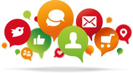 Sprechblasen mit Internet Icons