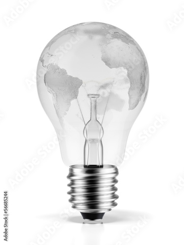 bulb with a world map (image furnished by NASA)