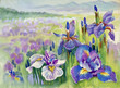 Beautiful iris meadow in watercolor