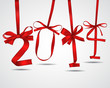 Red ribbons New Year 2014