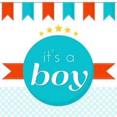 It's a boy- vector birthday card for newborn