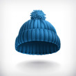 Knitted blue cap, illustration