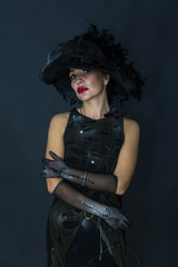 Portrait of a witch on a black background
