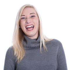 Frau jung lachend - Gesicht, isoliert - in Winterkleidung