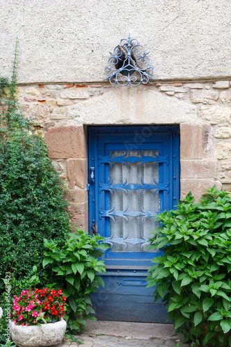 Blue French door