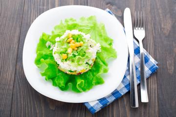 Crab salad with mayonnaise