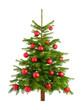 Pfiffiger Weihnachtsbaum mit roten Kugeln